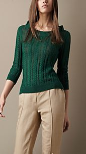 Linen-Blend Cable Knit Sweater