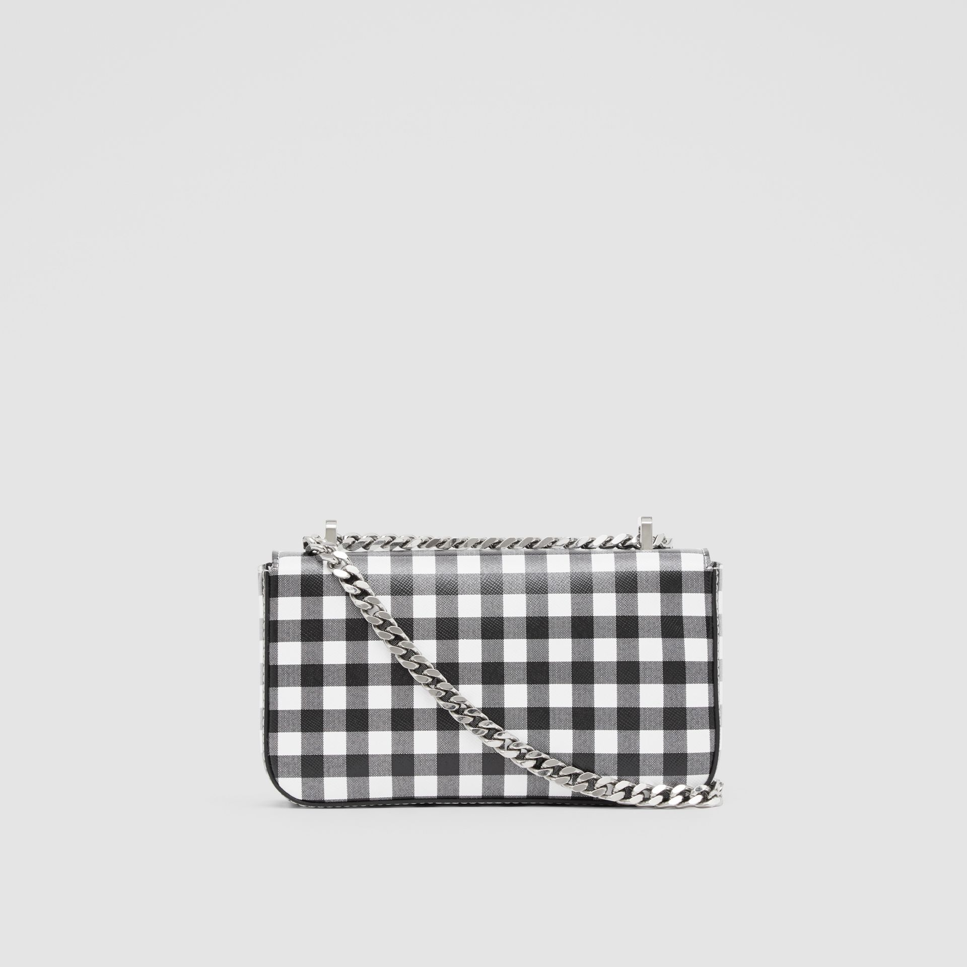 Mini Gingham Leather Lola Bag in Black/white - Women | Burberry - gallery image 7