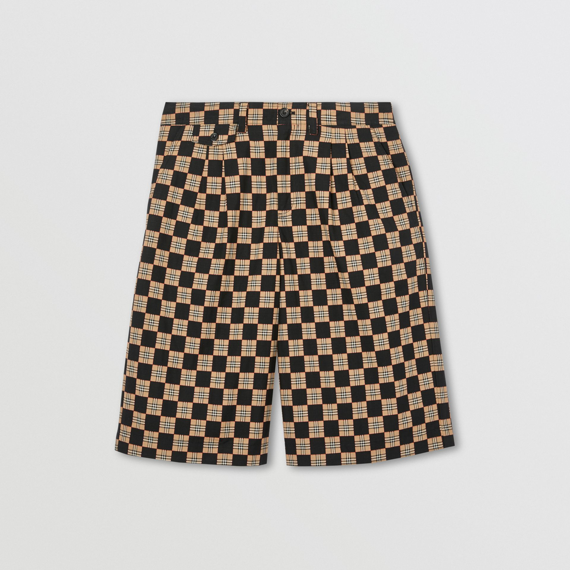 Chequer Cotton Jacquard Tailored Shorts in Archive Beige | Burberry - gallery image 3