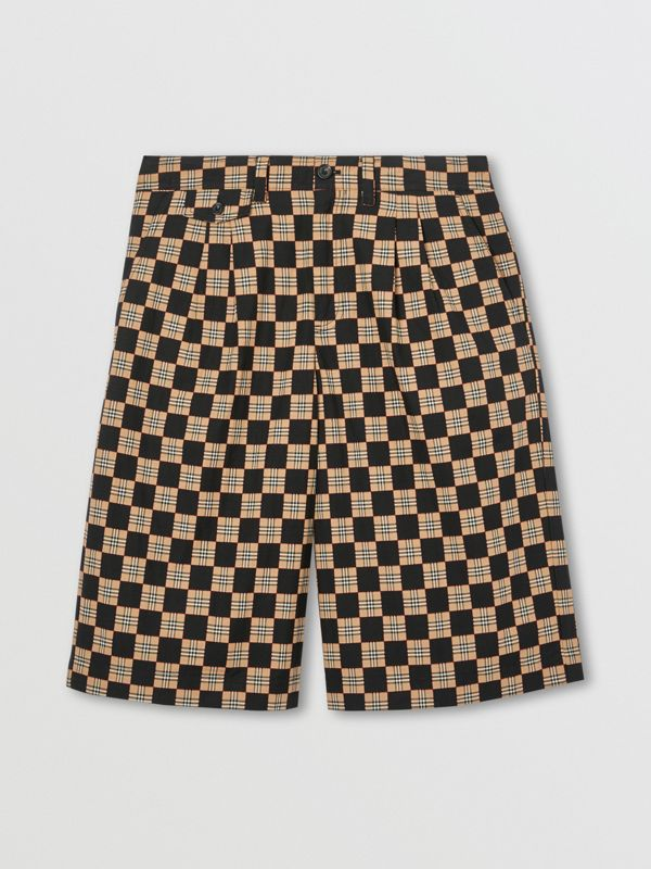 Chequer Cotton Jacquard Tailored Shorts in Archive Beige | Burberry - cell image 3