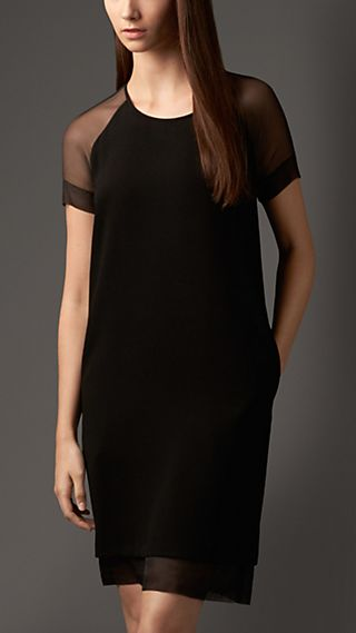 Crepe Shift Dress with Sheer Sleeves
