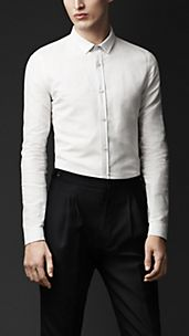 Skinny Fit Linen Cotton Shirt