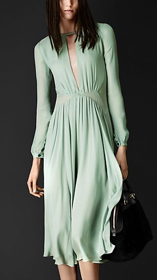 Layered Silk Pleat Detail Dress