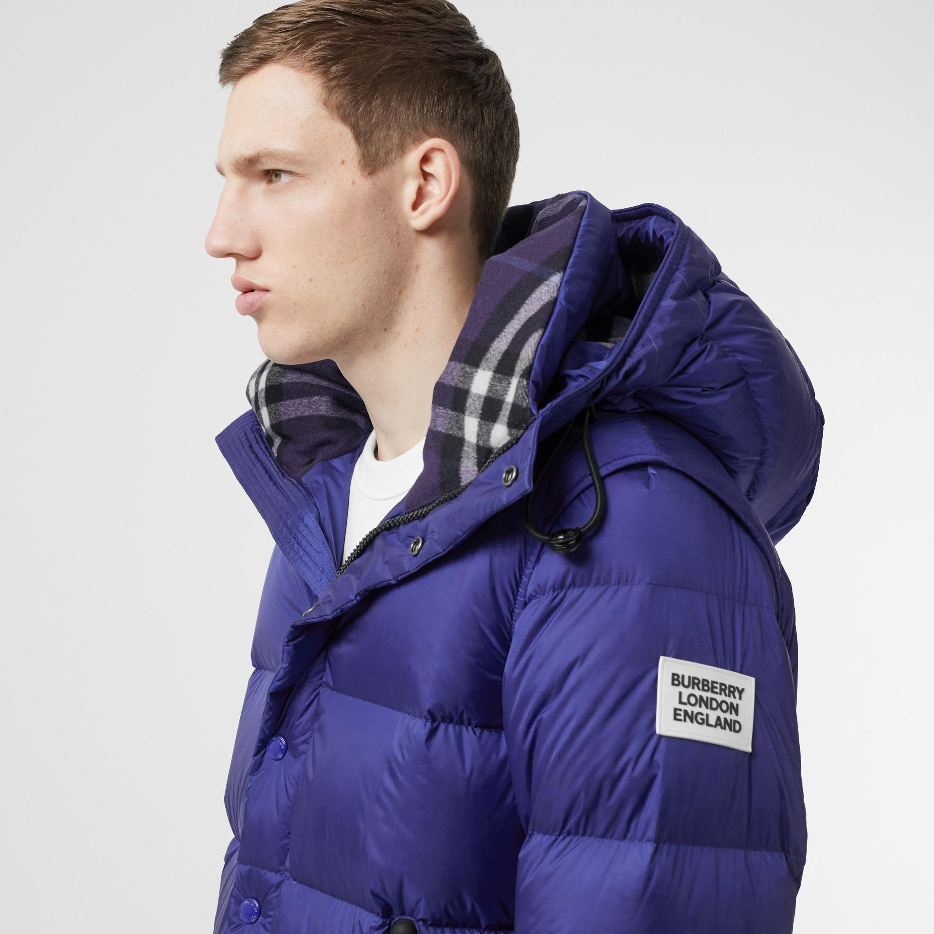 Detachable Sleeve Hooded Puffer Jacket in Dark Cobalt Blue - Men | Burberry - gallery image 4