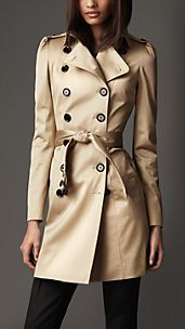 Mid-Length Stretch-Cotton Satin Puff Sleeve Trench Coat