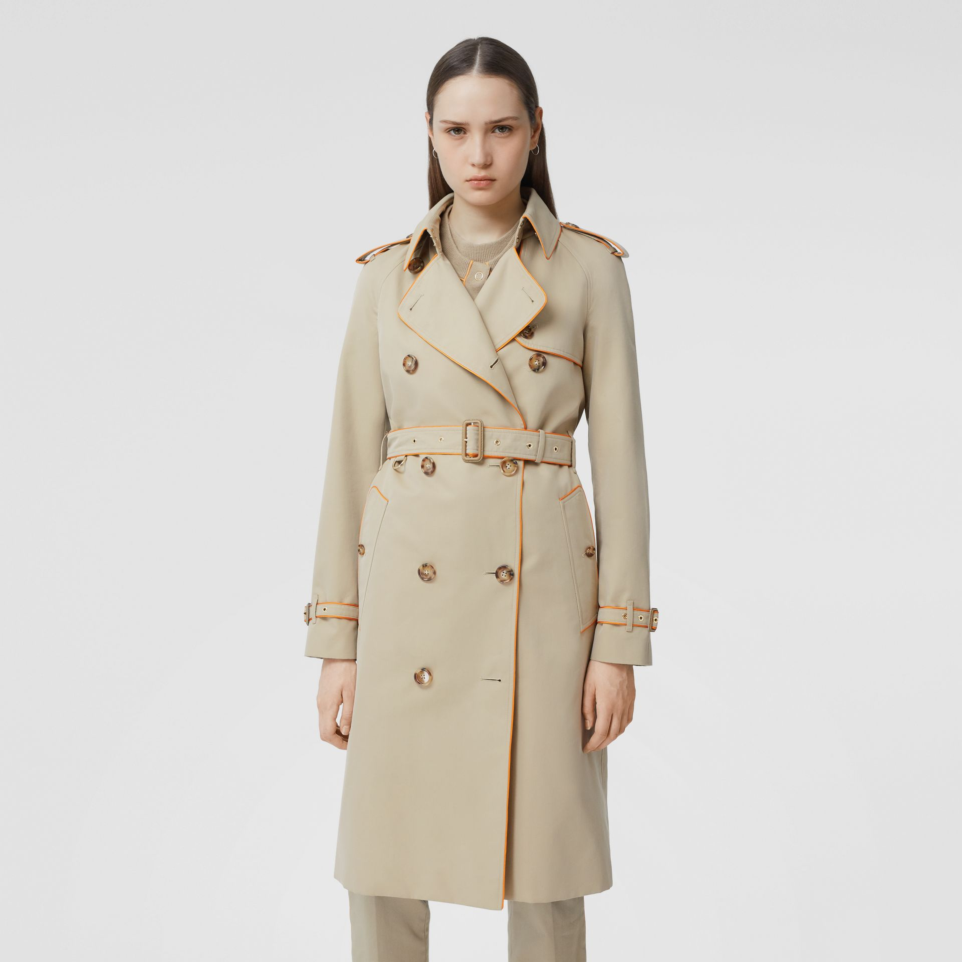 Piped Cotton Gabardine Trench Coat in Honey - Women | Burberry - gallery image 0