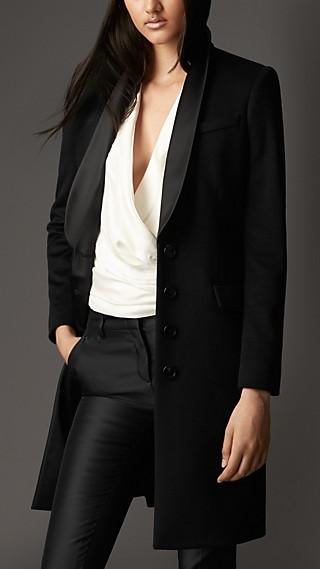 Chain Detail Cashmere Tuxedo Coat