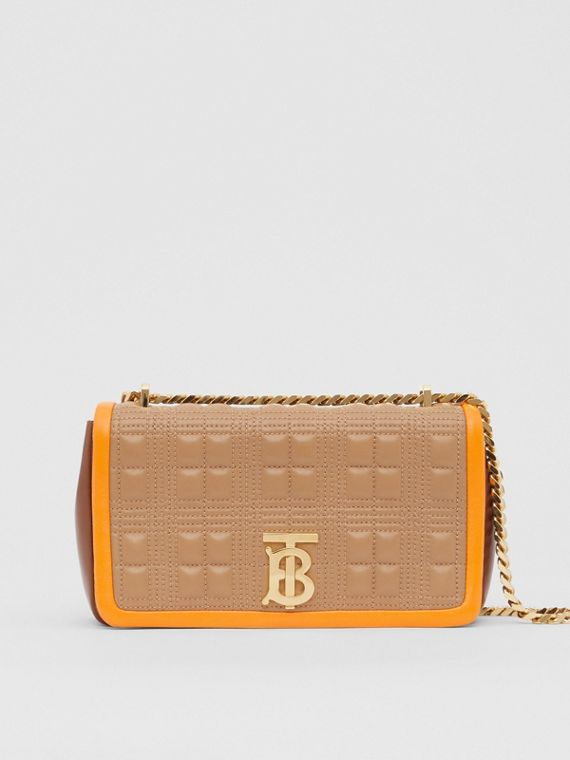 Small Quilted Tri-tone Lambskin Lola Bag in Camel/bright Orange