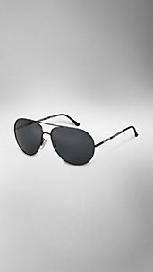 Polarised Check Detail Aviator Sunglasses