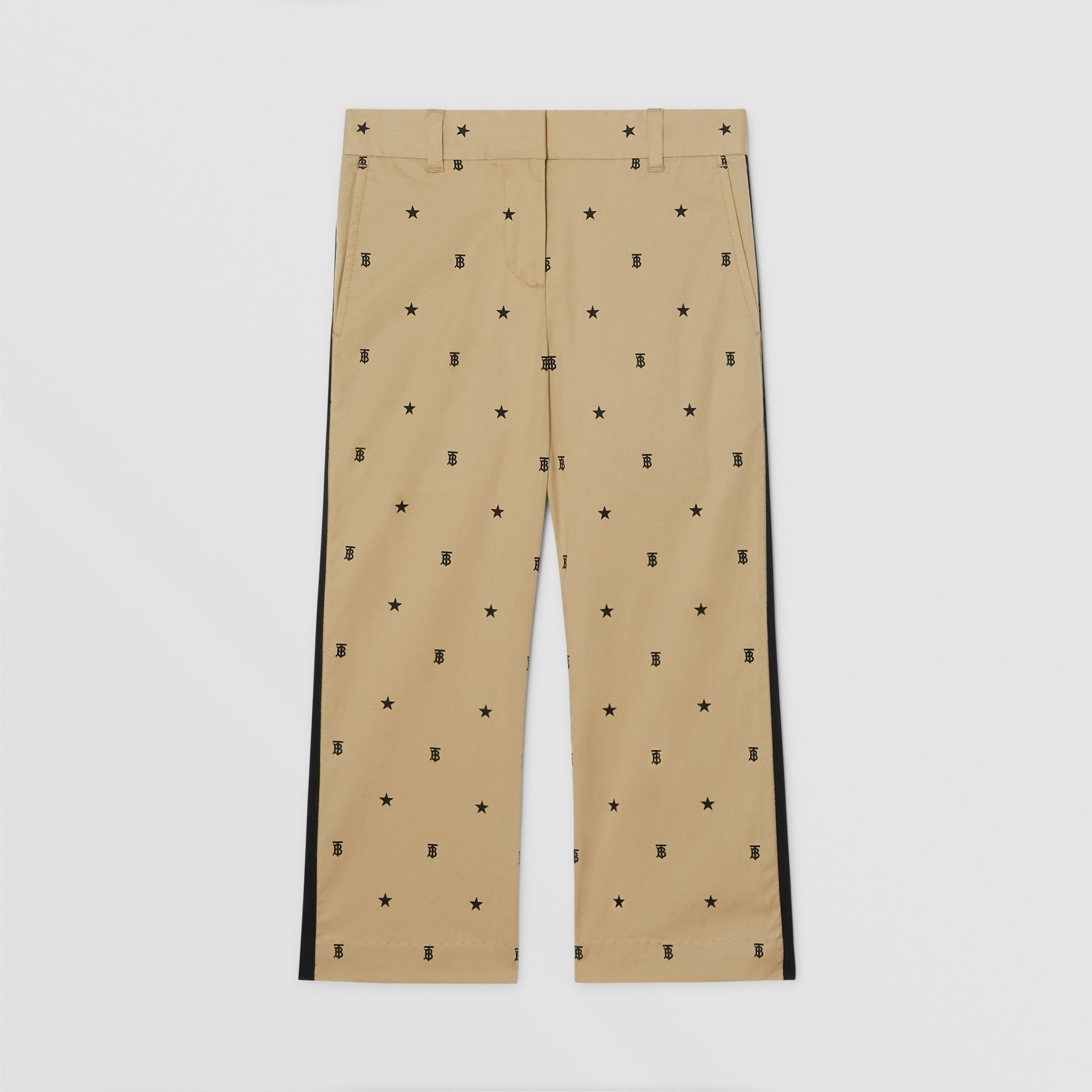 Star and Monogram Motif Stretch Cotton Trousers in Sand | Burberry - gallery image 0