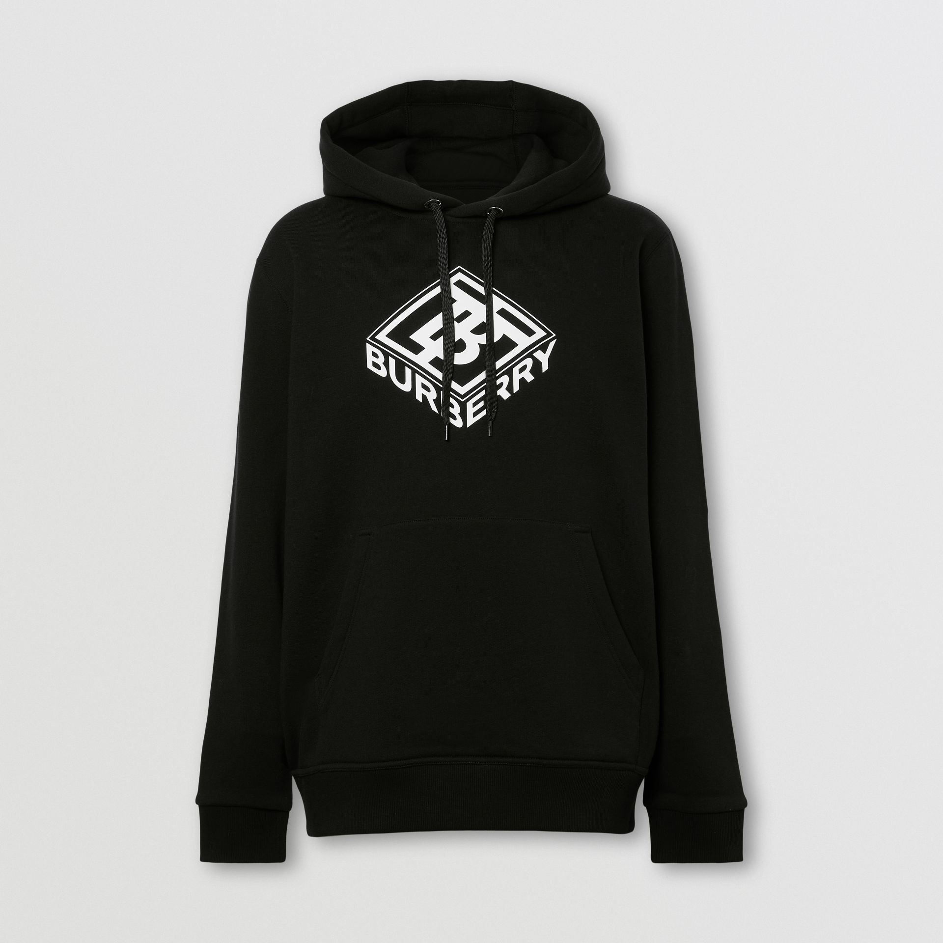 Logo Graphic Cotton Hoodie in Black - Men | Burberry - gallery image 0