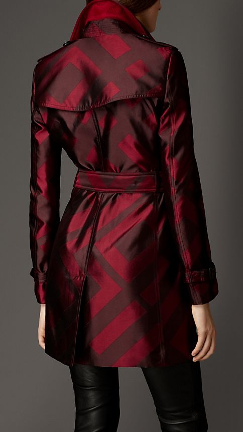 Mahogany red Check Silk Jacquard Trench Coat - Image 2