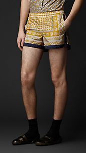 Woodcut Print Swim Shorts
