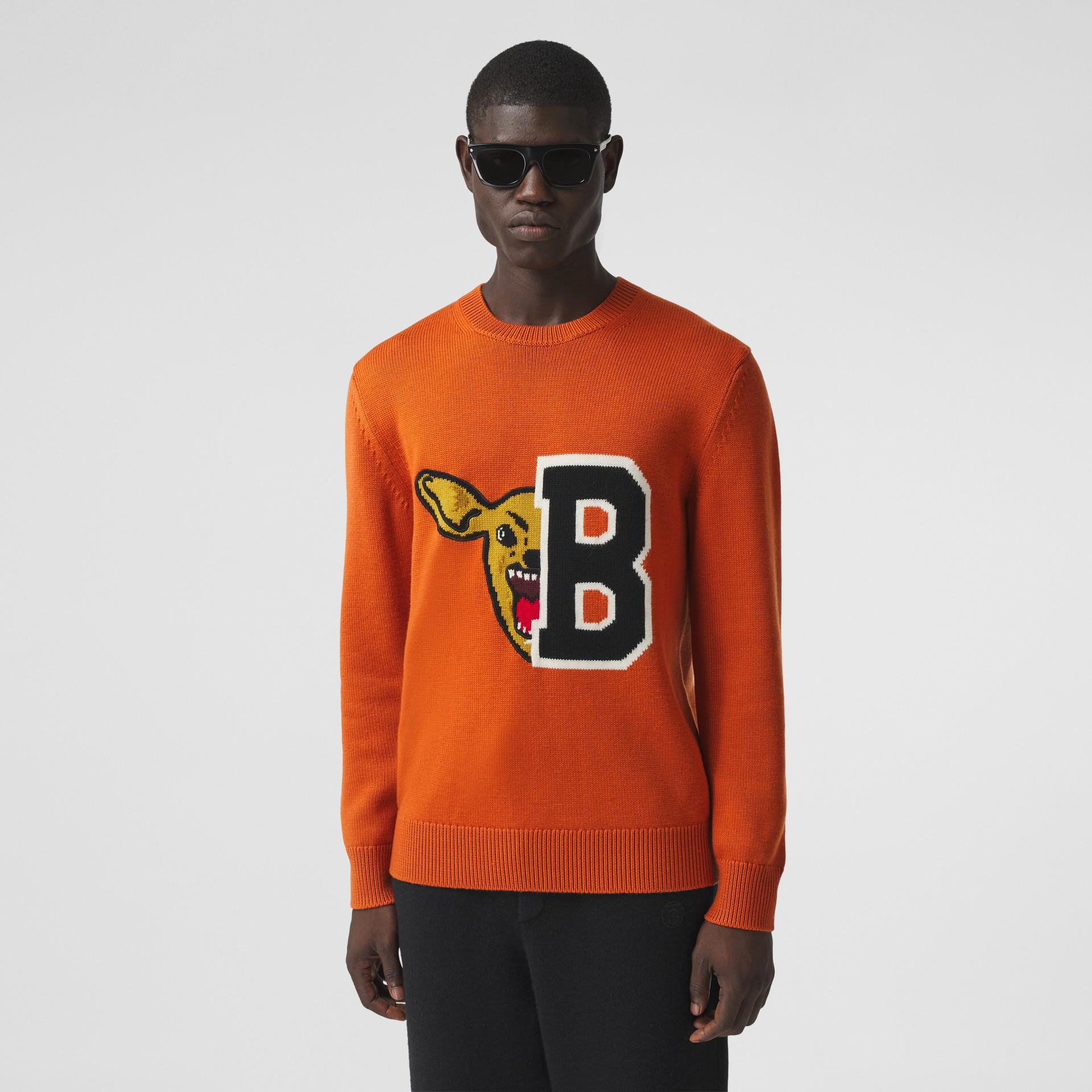 Varsity Graphic Merino Wool Jacquard Sweater in Burnt Orange - Men   Burberry - gallery image 0