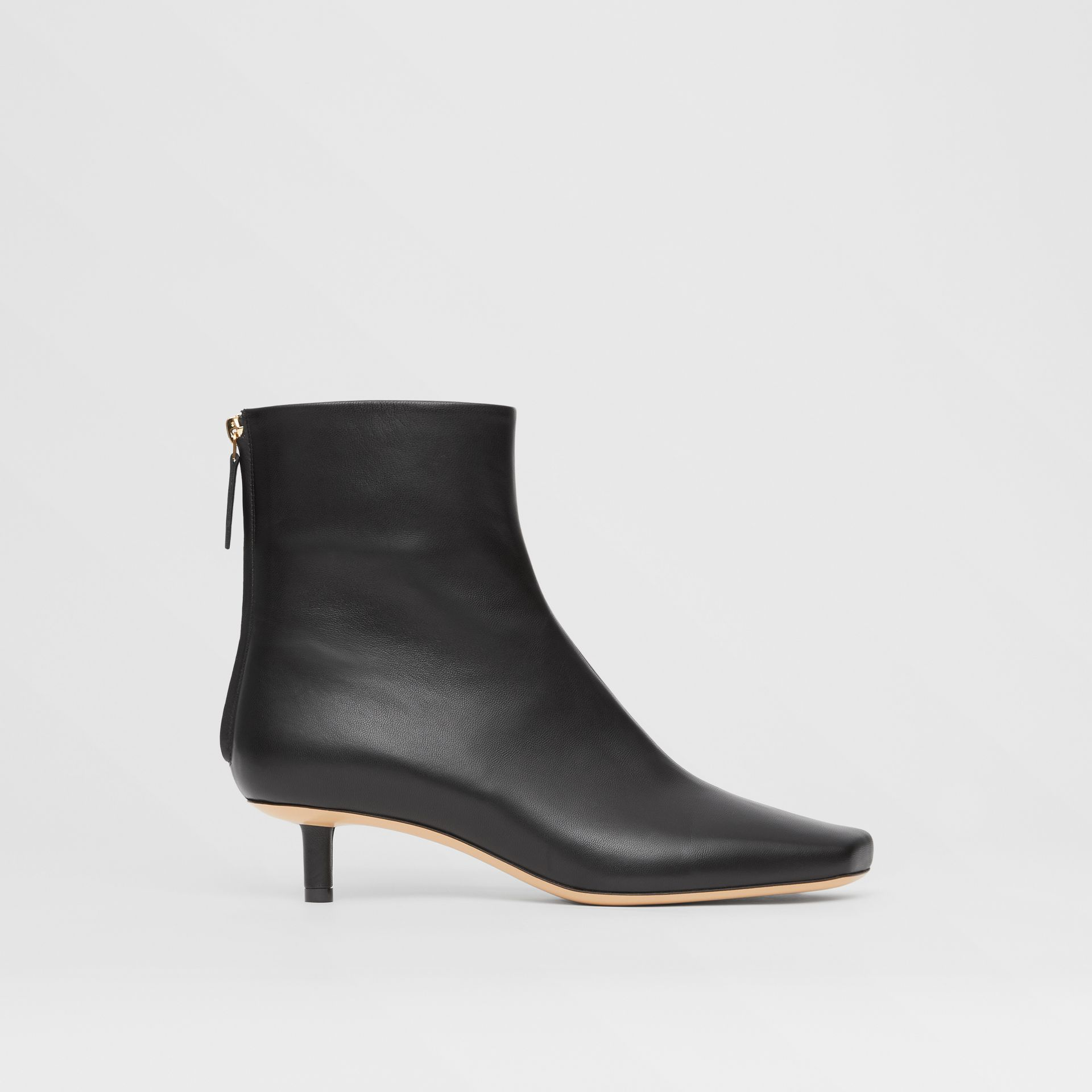 Lambskin Sculptural Kitten-heel Ankle Boots in Black - Women | Burberry - gallery image 5