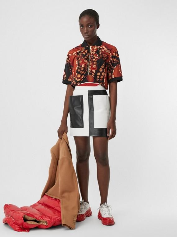 Pocket Detail Two-tone Lambskin Mini Skirt in Black/white