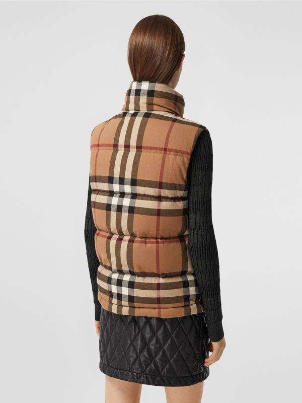 Check Cotton Flannel Puffer Gilet in Birch Brown - Women | Burberry Hong Kong S.A.R. - cell image 2