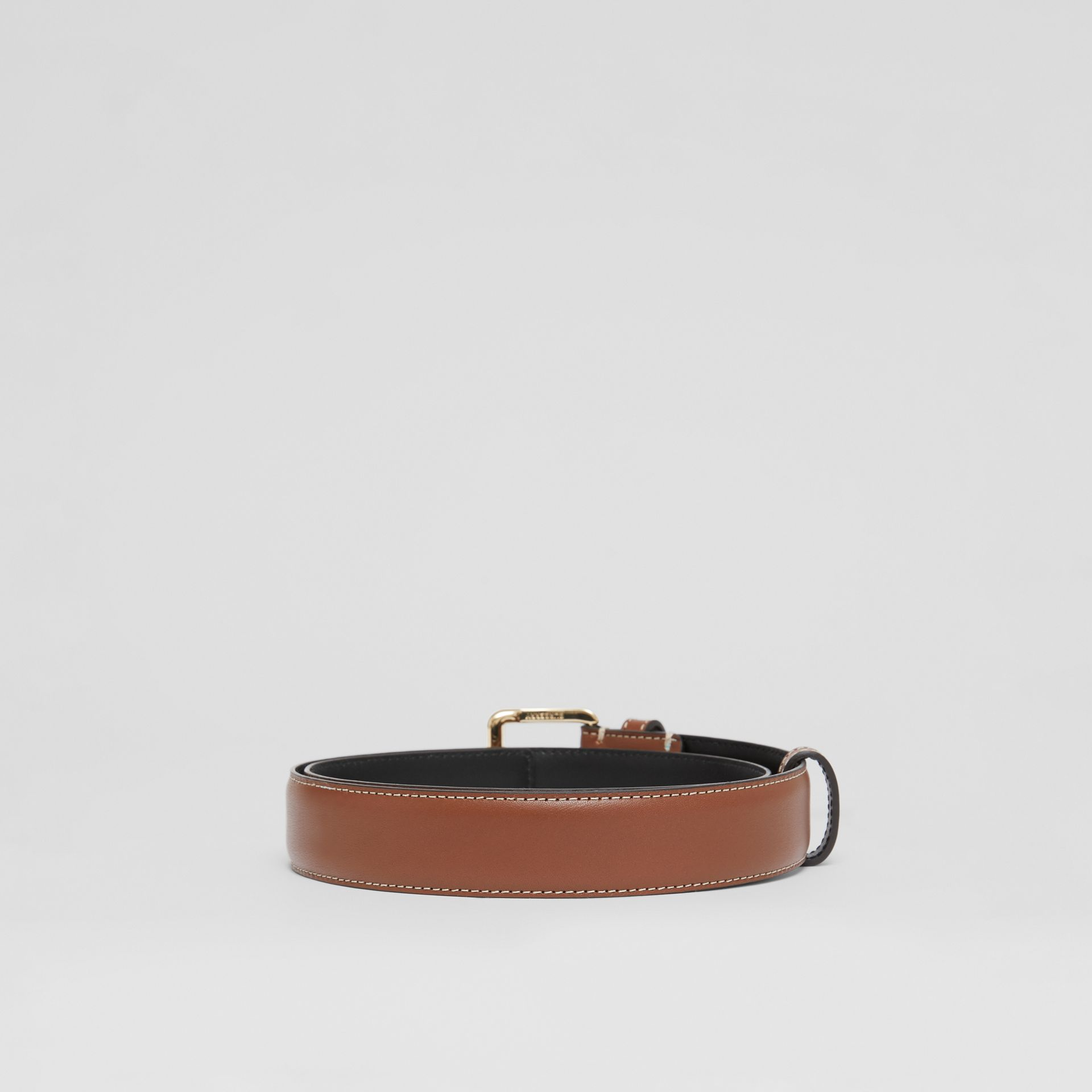 Monogram Motif Topstitched Leather Belt in Tan/light Gold - Women | Burberry - gallery image 4