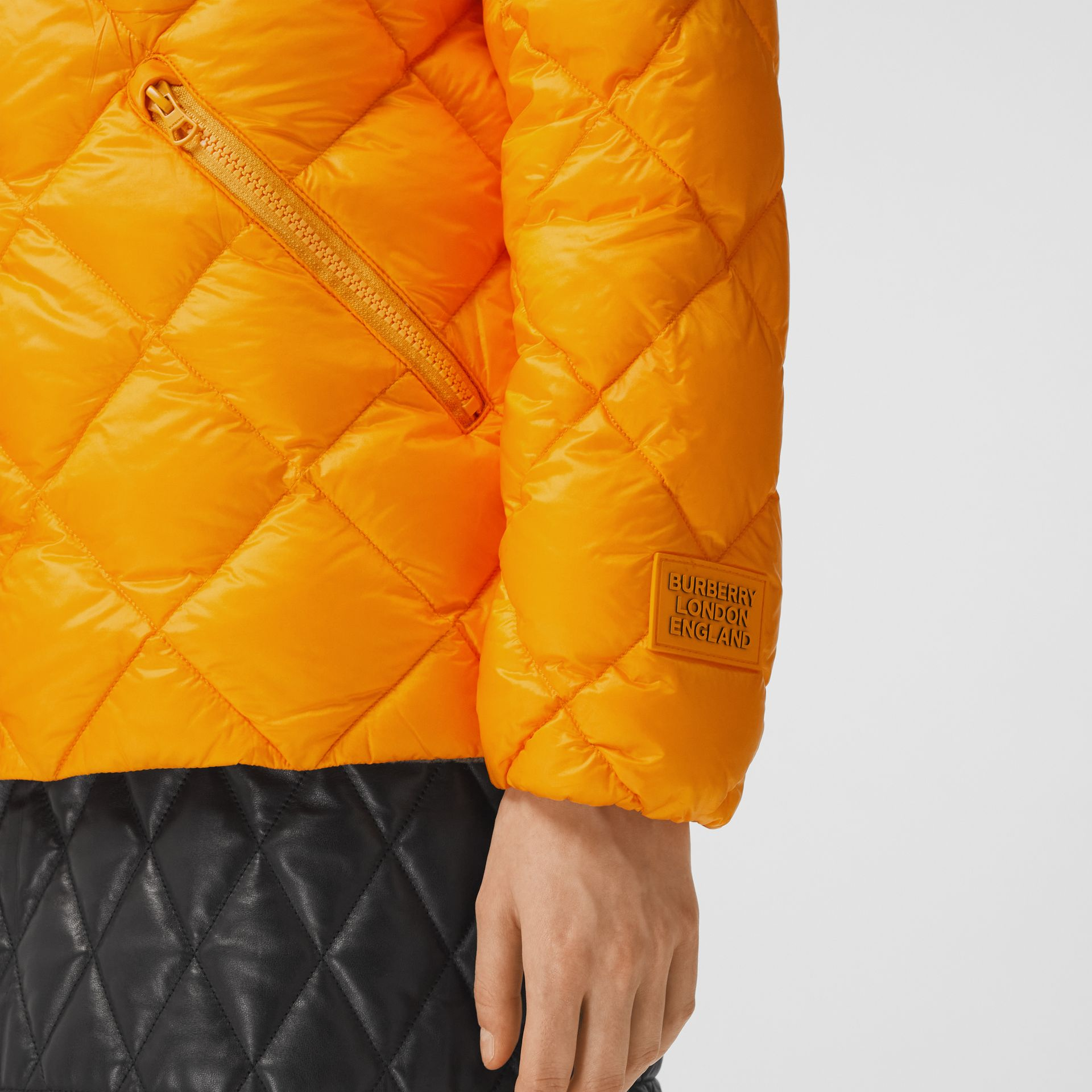 Diamond Quilted Down-filled Jacket in Citrus Orange - Women | Burberry - gallery image 4