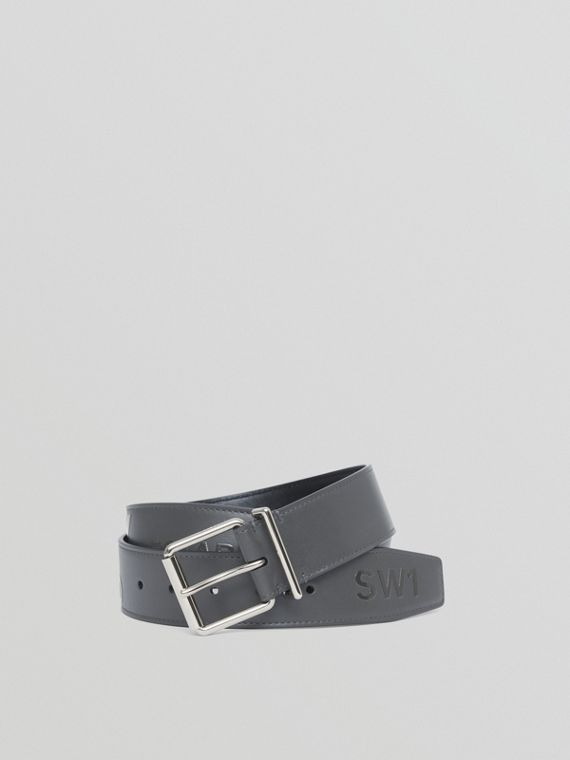 Horseferry Print Leather Belt in Sepia Grey
