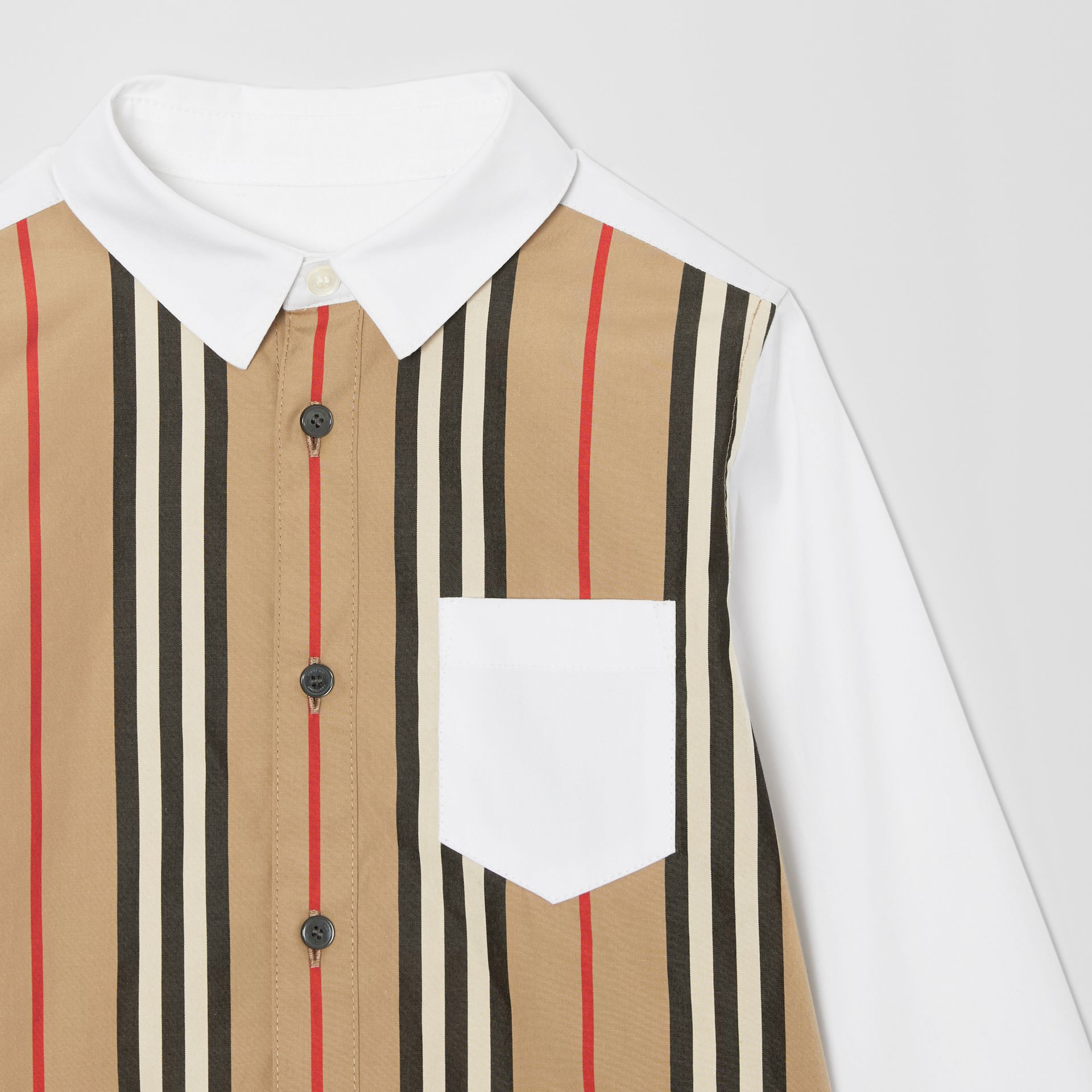 Icon Stripe Panel Stretch Cotton Shirt in White | Burberry United States - gallery image 4