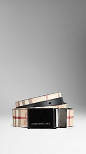 Haymarket Check Reversible Leather Plaque Belt