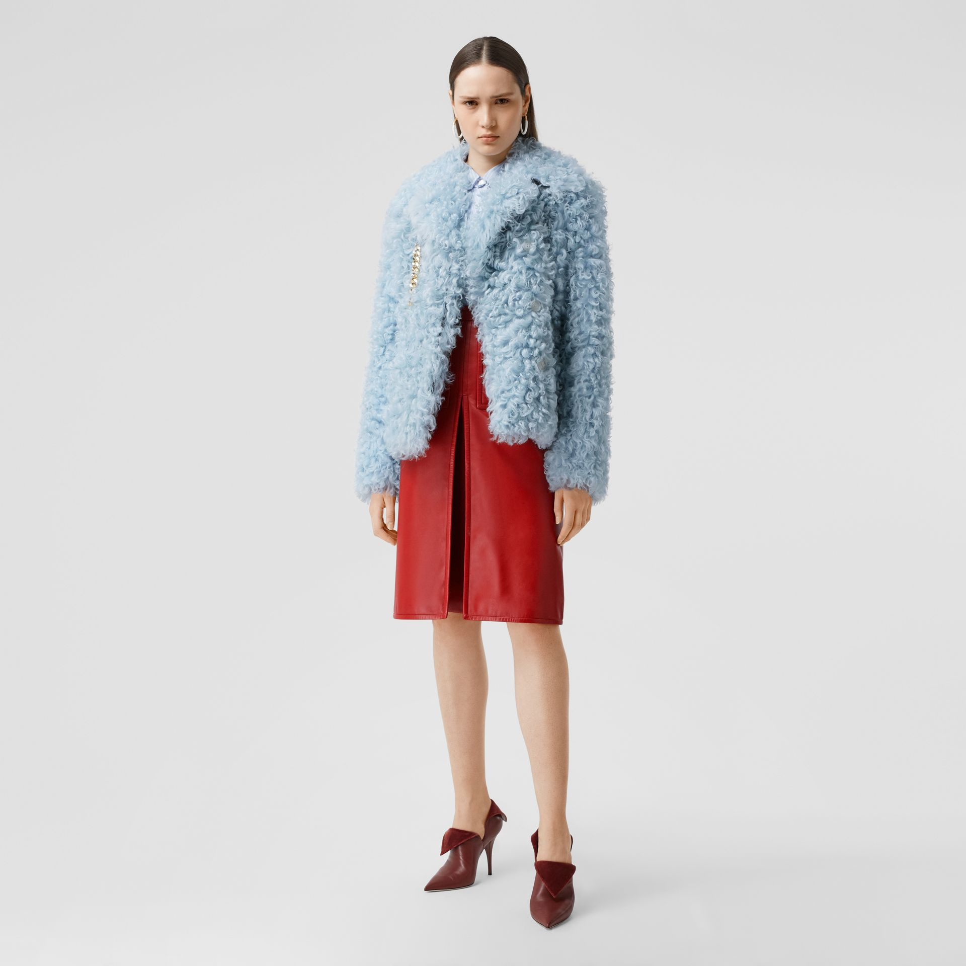 Chain Detail Shearling Jacket in Pale Blue - Women | Burberry United Kingdom - gallery image 0