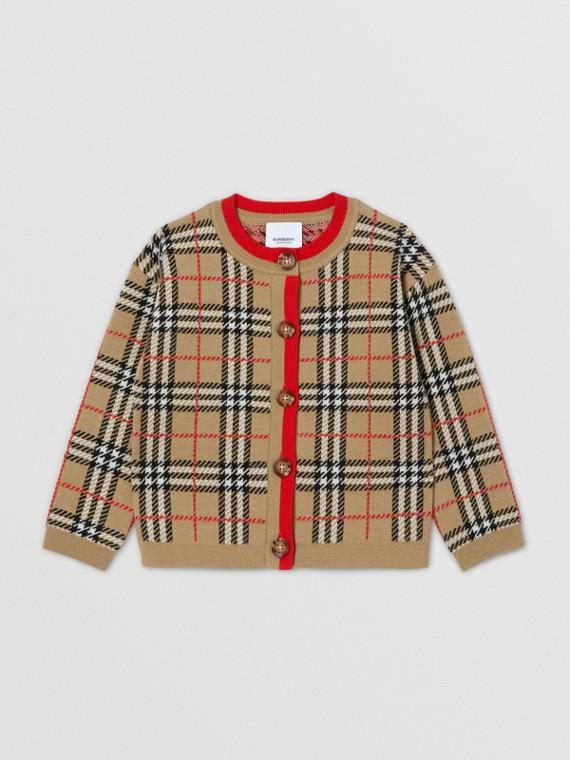 Check Merino Wool Jacquard Cardigan