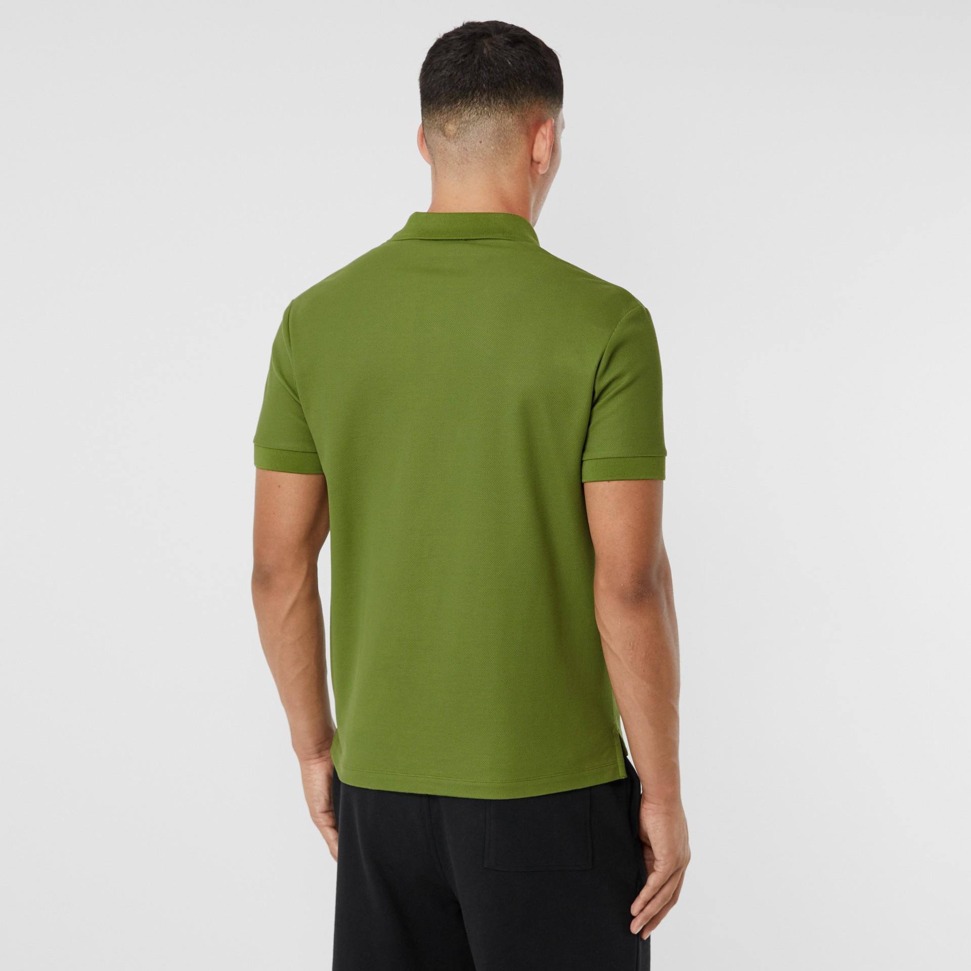 Monogram Motif Cotton Piqué Polo Shirt in Cedar Green - Men   Burberry - gallery image 2