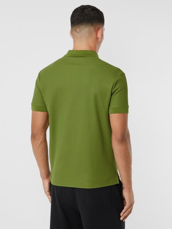 Monogram Motif Cotton Piqué Polo Shirt in Cedar Green - Men   Burberry - cell image 2