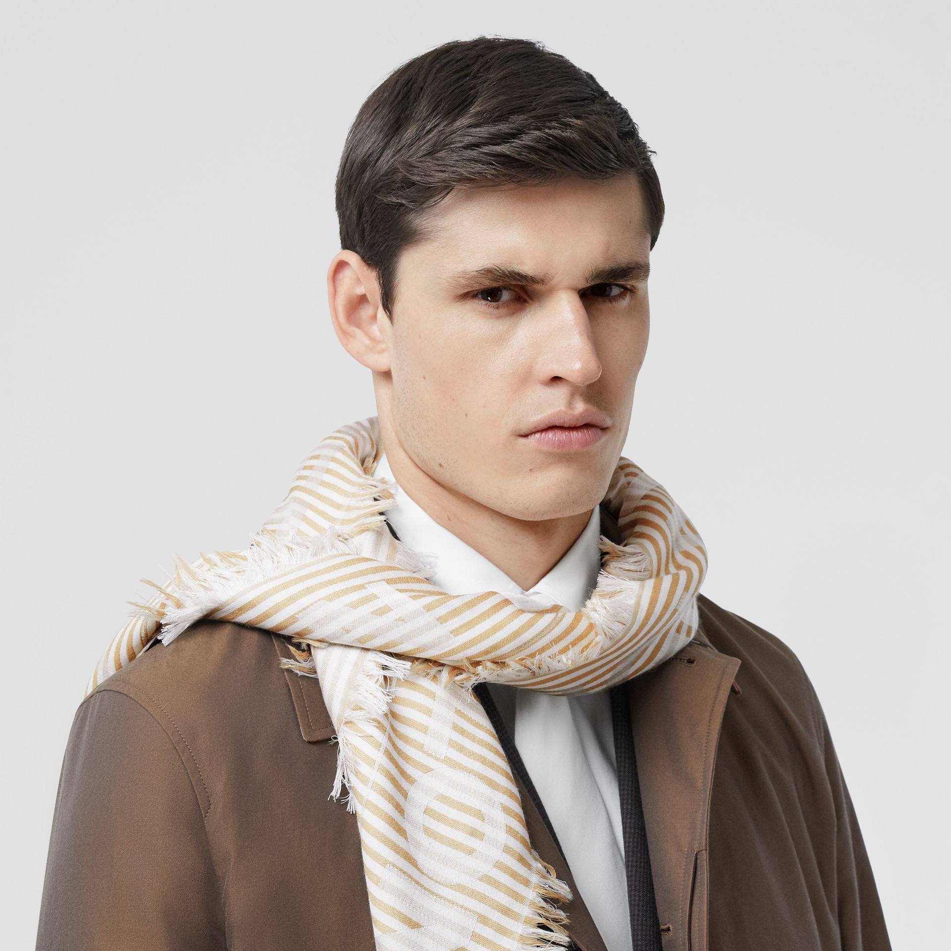 Striped Logo Silk Wool Jacquard Large Square Scarf in Archive Beige   Burberry - gallery image 3