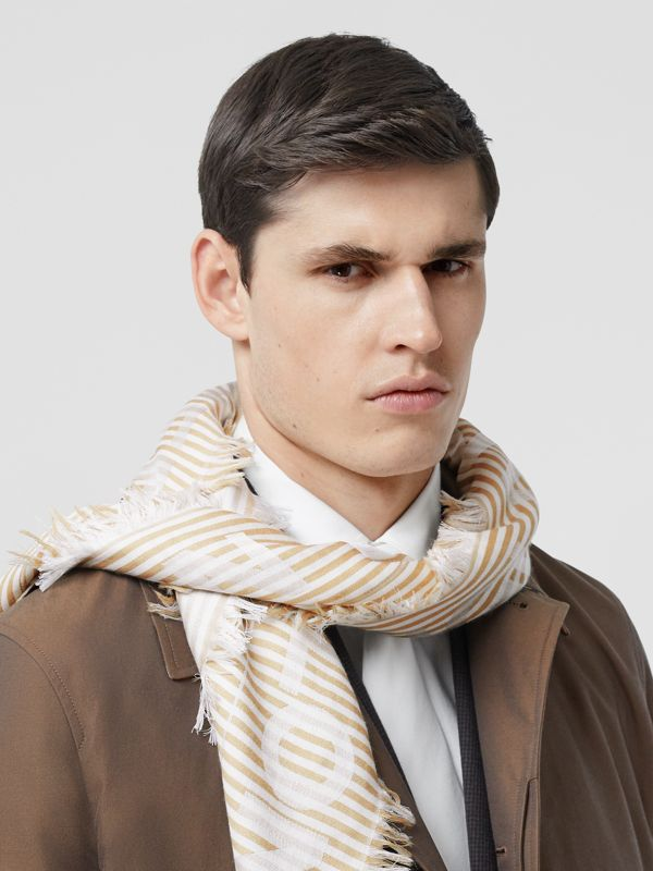 Striped Logo Silk Wool Jacquard Large Square Scarf in Archive Beige   Burberry - cell image 3
