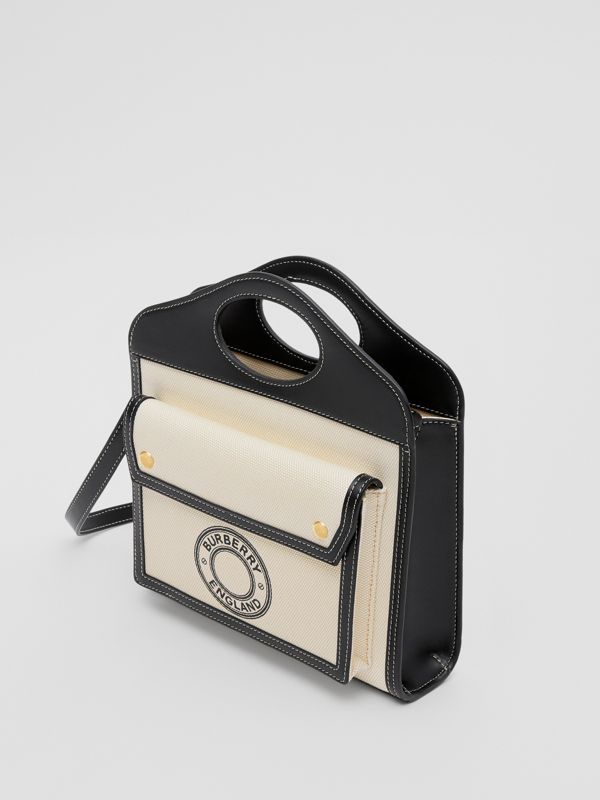 Borsa Pocket mini in tela e pelle con grafica e logo (Naturale/nero) - Donna | Burberry - cell image 2