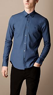 Check Cuff Cotton-Rich Shirt