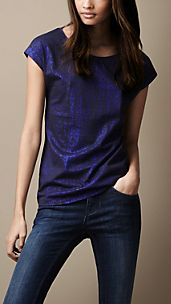 Metallic Foil Cotton T-Shirt