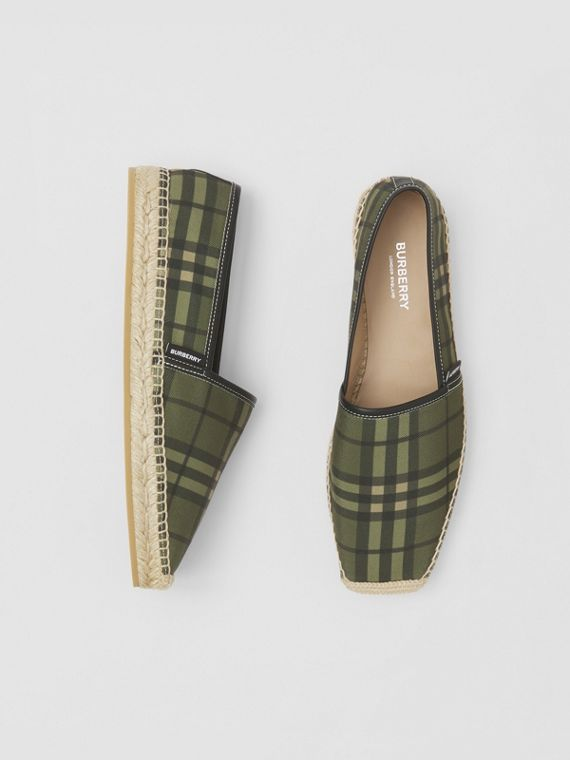 Vintage Check Cotton Canvas Espadrilles in Military Green