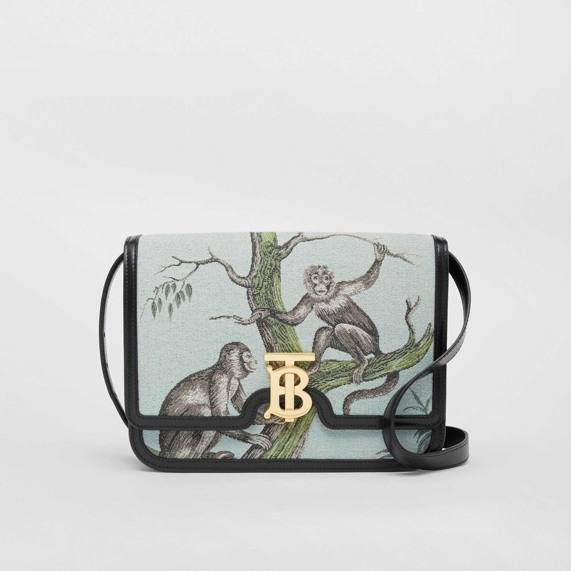 Medium Monkey Jacquard and Leather TB Bag in Black/opal Green - Women | Burberry - gallery image 0