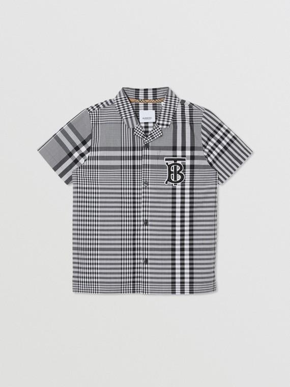 短袖花押字圖案格紋棉質襯衫 (黑色)
