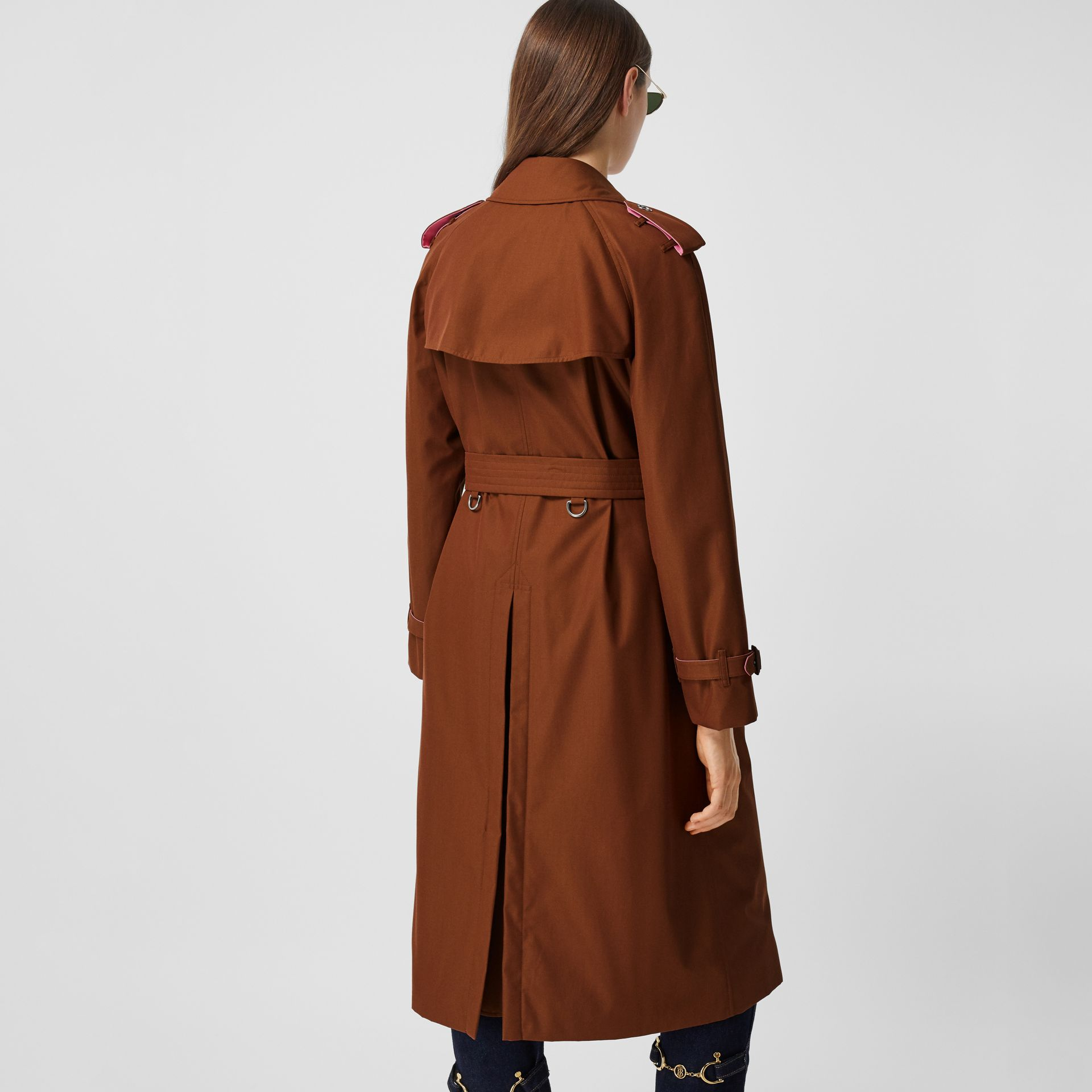 Colour Block Cotton Gabardine Trench Coat in Chestnut Brown - Women | Burberry - gallery image 2