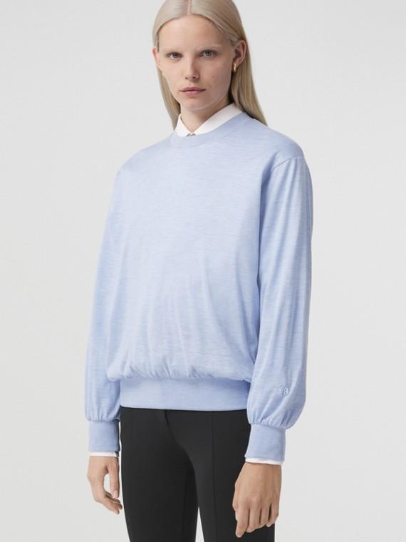 Long-sleeve Monogram Motif Silk Cotton Top in Pale Blue