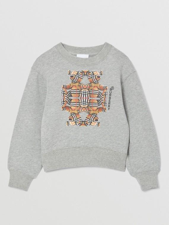 Thomas Bear Motif Cotton Sweatshirt in Grey Melange