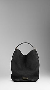 Large Suede Nubuck Leather Hobo Bag