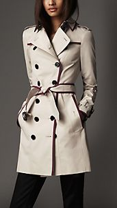 Mid-Length Technical Cotton Contrast Piping Trench Coat