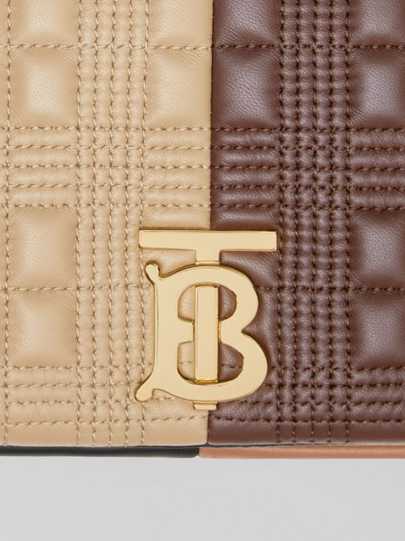 Small Quilted Colour Block Lambskin Lola Bag in Soft Fawn/dark Mocha - Women | Burberry - cell image 1