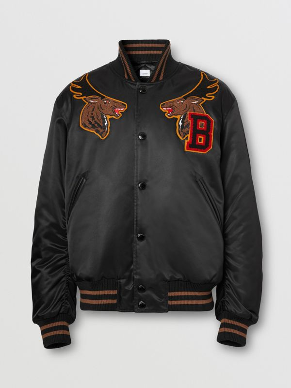 Varsity Graphic Satin Bomber Jacket in Black - Men | Burberry - cell image 3
