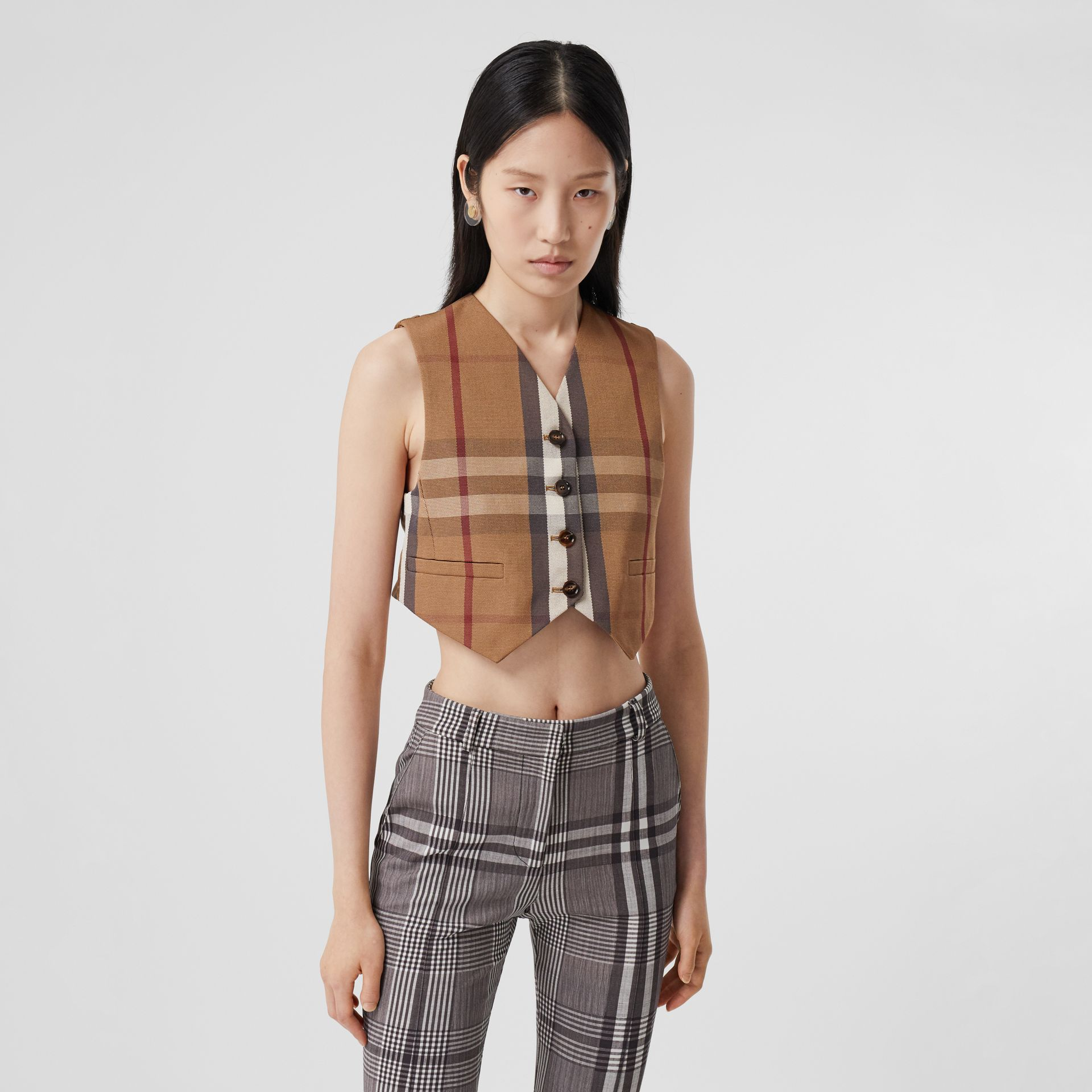 Check Technical Cotton Cropped Waistcoat in Birch Brown - Women | Burberry - gallery image 4