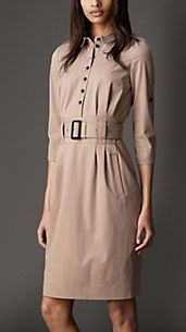 Stretch-Cotton Shirt Dress