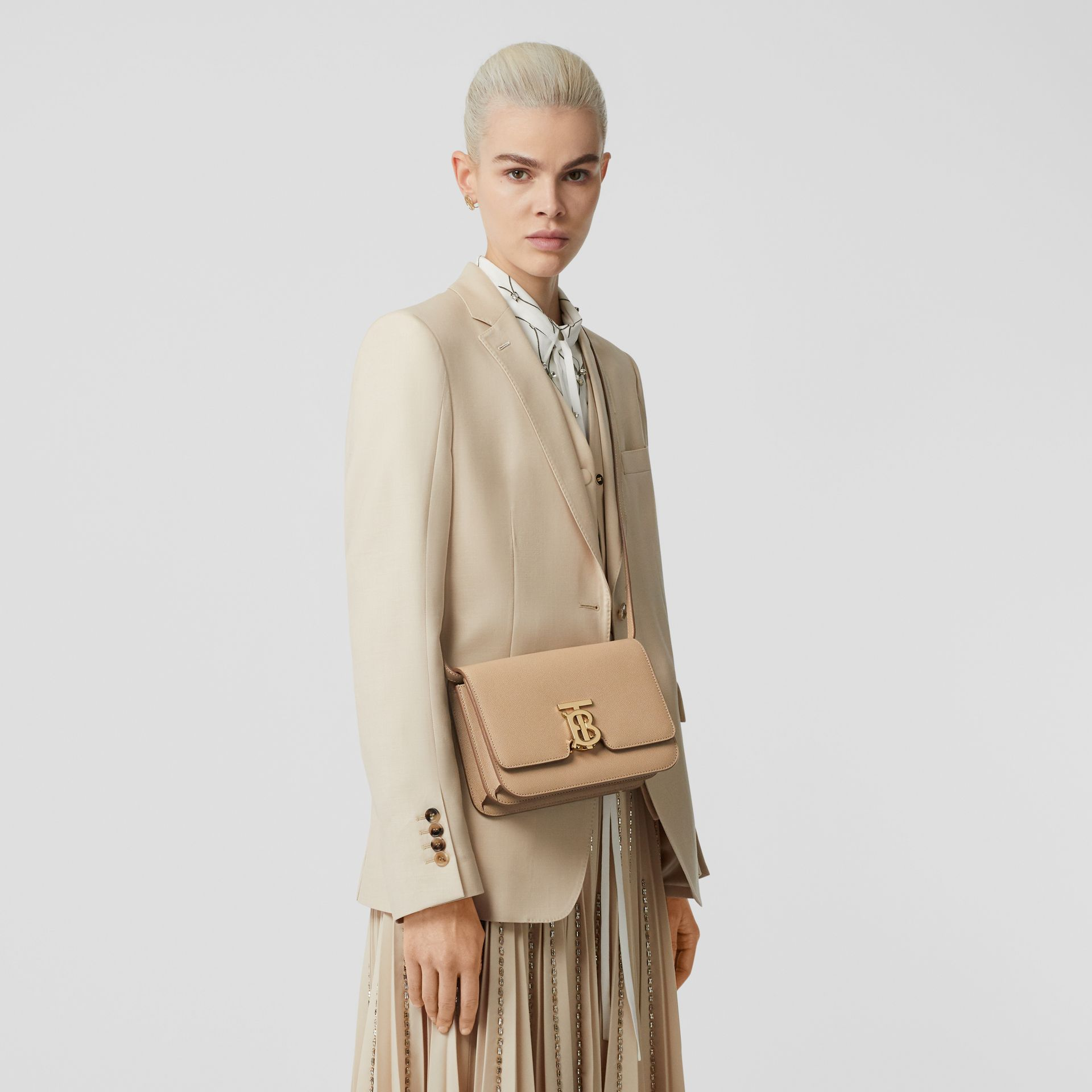 Small Grainy Leather TB Bag in Archive Beige | Burberry United States - gallery image 8