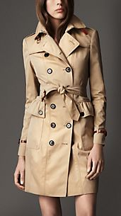 Long Cotton Gabardine Peplum Pocket Trench Coat