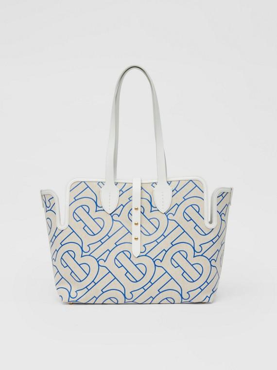 The Medium Belt Bag aus weichem Baumwollcanvas (Naturfarben/blau)
